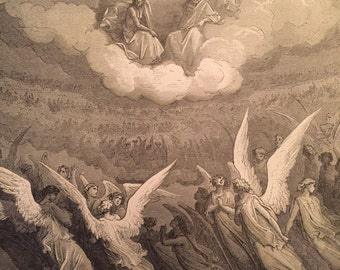 Antique Engraving by Gustave Doré for Dante's Purgatory and Paradise