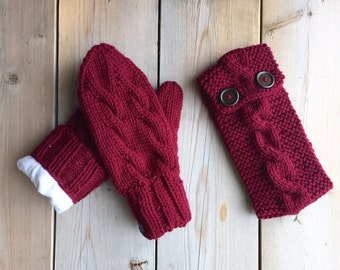Matching Button Cable Headband and Lined Cable Mittens in Burgundy