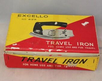 Travel Iron Vintage 1940's Excello No 629 IOB Working Folding Iron Appliance Japan Collectible