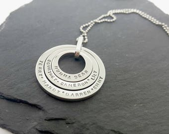 Custom hand stamped family name necklace, Personalised family washer necklace, Personalized family pendant, Stainless steel ring necklace
