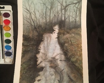 Lake in the Forest Watercolor