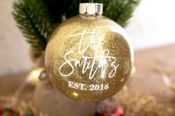 Personalized Newlywed Ornament Just Married Christmas
