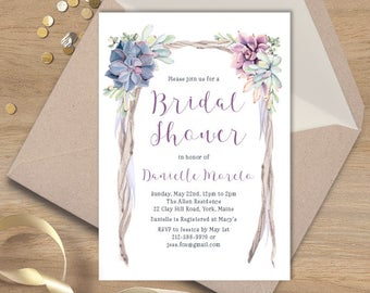 Boho Bridal Shower Invitation / Boho Arch / Purple Succulents, Greenery, Driftwood / Purple Wedding  ▷ Printed Heavy Paper {or} Printable