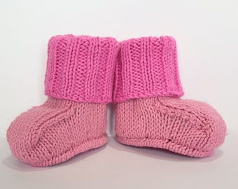 Pink Baby Booties Baby Girl Booties, Hot Pink Booties, Hand Knit Booties, Pink Crib Shoes New Baby Gift Baby Shower Baby Slippers New Baby