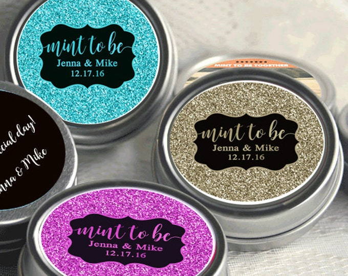 Featured listing image: Engagement Party Decor -Wedding Favor Mint Tins - Personalized Wedding Favors - Wedding Decor - Engagement Party Favors - Mint To Be