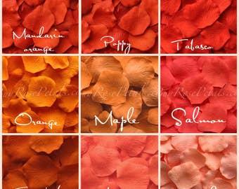 shades of orange rose petals silk rose petals