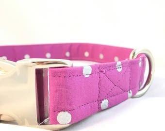 Purple silver metallic polka dot Dog Collar - Purple dog collar - polka dot dog collar - Modern Dog Collar - girl Dog Collar - dog collar