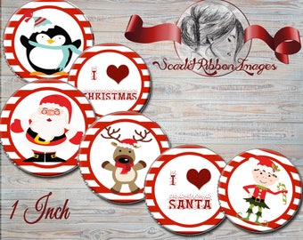 Christmas bottle cap image  Santa Bottle Cap images -  15 - 1 in circles  - 600dpi, Collage Sheet, cupcake toppers, Gift Tags, BottleCaps