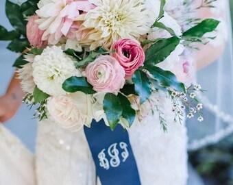 Monogrammed Wedding Ribbon-Wedding Bouquet-GrosGrain-Wedding Day-Personalized-Bridesmaid-Southern Wedding-GrosGrain Ribbon-Monograms