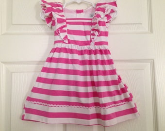Pink Stripe Knit Ruffle Dress Baby Toddler Girls Birthday Ruffle Outfit Spring Summer Beach