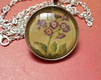 Long Flower Pendant, Flower Lovers Necklace, Nature Lovers Jewelry, Purple Dome Necklace, Australian Made, Gift for Her, Glass Dome Pendant
