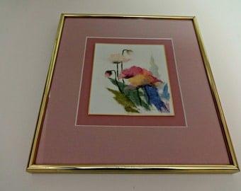 Art, Framed Art, Rice Paper Art, Floral Art, Botanical Art, Wall Art, Wall Decor, Paper Art, Rice Paper, Original Art, Gold Framed Art
