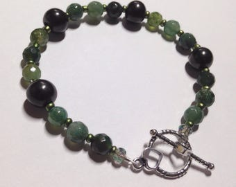 Magical Garden, Moss Agate and Shungite sterling silver toggle bracelet.