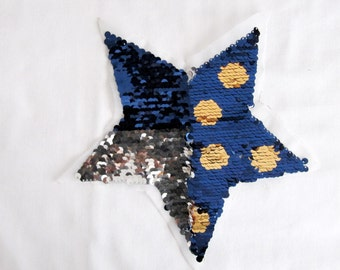 Double Sided Blue Star,Change Color Star Patch,Star Applique ,Sequin Star Patch,Silver Patch ,Saxe Blue Star, Silver Star Patches