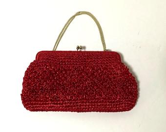 Vintage Red Raffia Clutch
