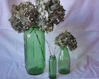 VINTAGE Green Glass 3 piece set**