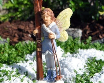 Ski Fairy for Miniature Garden, Fairy Garden