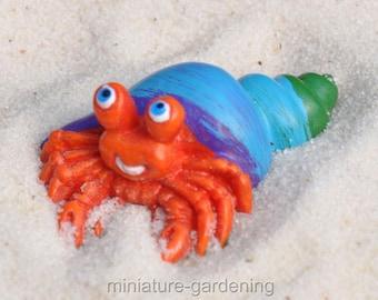 Blue Shell Hermit Crab for Miniature Garden, Fairy Garden