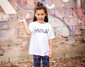 Hola! Black & White Shirt - Spanish Baby Bodysuit - Hispanic Toddler Shirt - Hola Shirt - Spanish Shirt - Latino Shirt - Latino Kids Tee