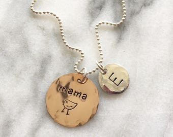 Mama Bird & Initial-Rose Gold/Sterling