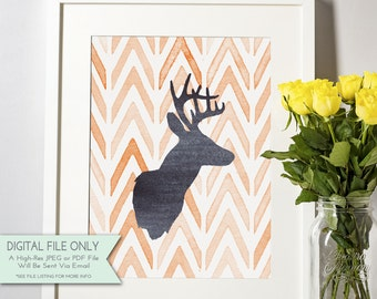 Deer Head Watercolor Print - Deer Head Silhouette Art - Fall Print - Home Decor Printable - INSTANT DOWNLOAD Digital File Only {8x10}