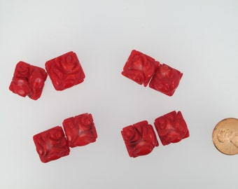 Red coral flower beads. Carved coral flowers. Rose flower beads. Hand carved. Two pieces