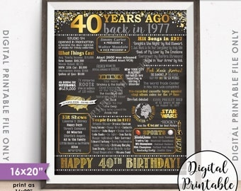 "40th Birthday Gift 1977 Poster, 40 Years USA Flashback Instant Download 8x10/16x20"" Born in 1977 Birth 40th B-day Chalkboard Style Printable"