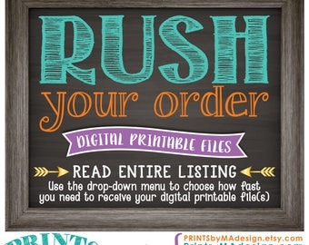 RUSH a Custom Order, Choose how fast you need a digital printable, Confirm w/shop prior to purchase for 1 or 2 biz hrs <Read Entire Listing>