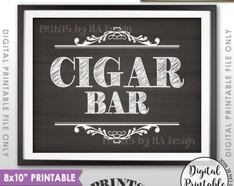 "Cigar Bar Sign, Cigar Sign, Baby Shower, Graduation, Birthday, Retirement, Wedding Shower, 8x10"" Chalkboard Style Printable Instant Download"