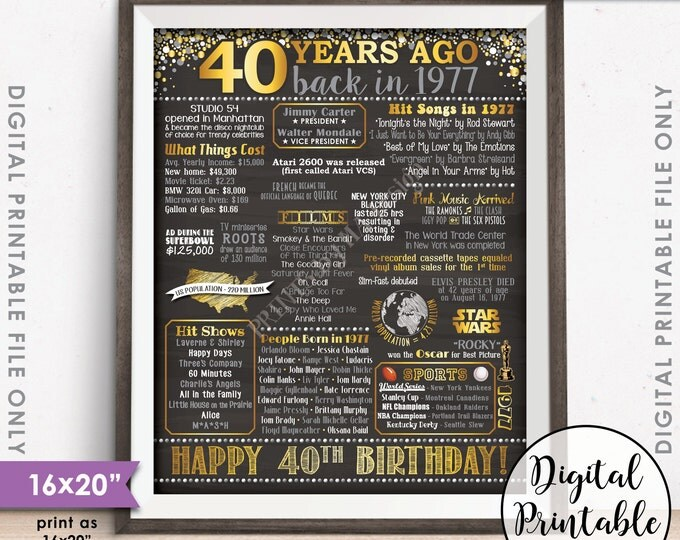 """40th Birthday Gift 1977 Poster, 40 Years USA Flashback Instant Download 8x10/16x20"""" Born in 1977 Birth 40th B-day Chalkboard Style Printable"""