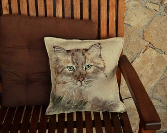 "Felted pillowcase ""Cat"". Eco friendly handmade felted Cushion cover.  ""Сat "" Felt pillow case"