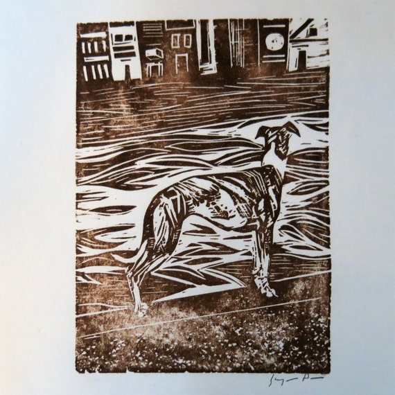 Greyhound and River art block print
