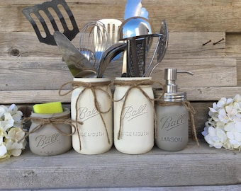 Country Kitchen Decor,Utensils Holder, Mason Jar Kitchen Decor, Mason Jar Kitchen Set, Kitchen Storage, Mason Jar Storage, Kitchen Set