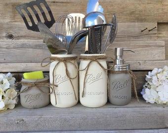 Country Kitchen Decor Utensils Holder Mason Jar Kitchen Decor Mason Jar Kitchen Set