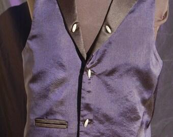 Man's steampunk waistcoat (vest) Dark blue shot Fabric.