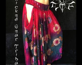 Side Swag Sari-Loons, belly dance pantaloons, harem pants, tribal pantaloons,  cut out pantaloons, open hip pantaloons
