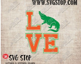 Florida Gator Love design Svg, Dxf, Jpg, Png, & Eps files for Silhouette Cricut Vinyl Cutting and Printing