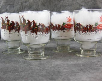 Set of 4 Budweiser Champion Clydesdales Pedestal Beer Glasses