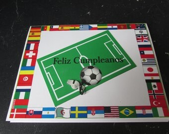Soccer Spanish Happy Birthday Card with all the country flags bordering the card