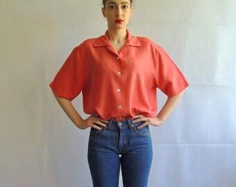 90s Vintage Silk Orange Slouchy Button Up Shirt