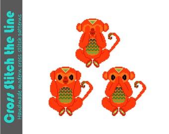 See no evil, hear no evil, speak no evil. Fun modern cross stitch pattern of tribal monkeys. Contemporary design.