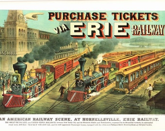 The Erie Railway, an Extra Large bookplate from Currier and Ives. The page is 18 3/4 inches wide and 14 inches tall.