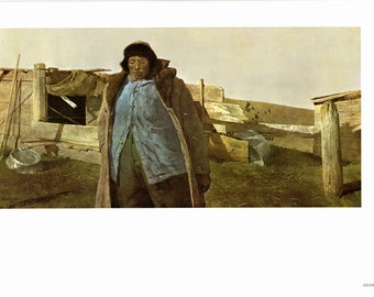 """Large print """"Adam"""" and April Wind painted by Andrew Wyeth. The Page is approx. 16 1/2 inches wide and 13 inches tall."""