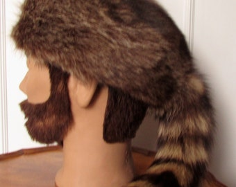 Racoon fur  hat with racoon tail