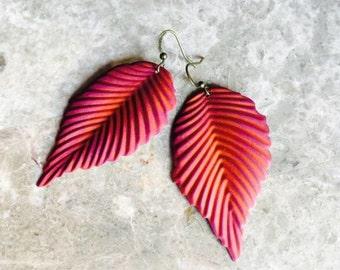 Hand Painted Sherbet & Orange Leaf Drop Earrings