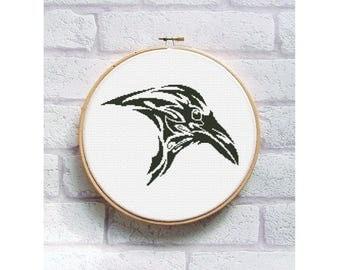 Monochrome cross stitch pattern - silhouette cross stitch - black and white - animal - DIY - easy cross stitch pattern - modern black Raven
