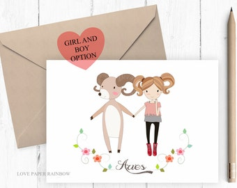 aries card, aries birthday card, aries girl, zodiac card, zodiac birthday card, march birthday card, zodiac sign card