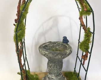 Fairy Garden Arch & Bird Bath Set