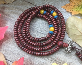 108 Natural 2X5mm Dalbergia cochinchinensis Pierre Spacer Tablet Wooden Beads Meditation Prayer Beads Japa Mala Buddha Necklace