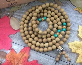 108pc 8MM Natural Yellow Aquilaria Eaglewood Beads Meditation Buddhist Japa Mala Necklace Prayer Beads